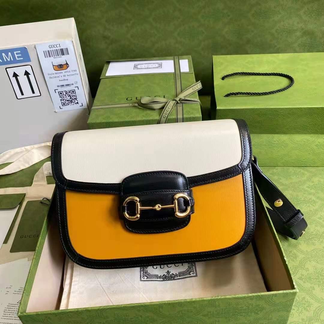 GUCCI古驰最新夏日经典款新配色系列橙色配白新品包包