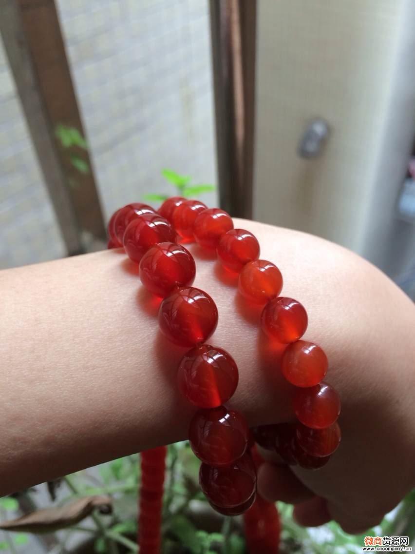 天然巴西红玉玛瑙手链男女款情侣链5A级通红冰种进口水晶辟邪